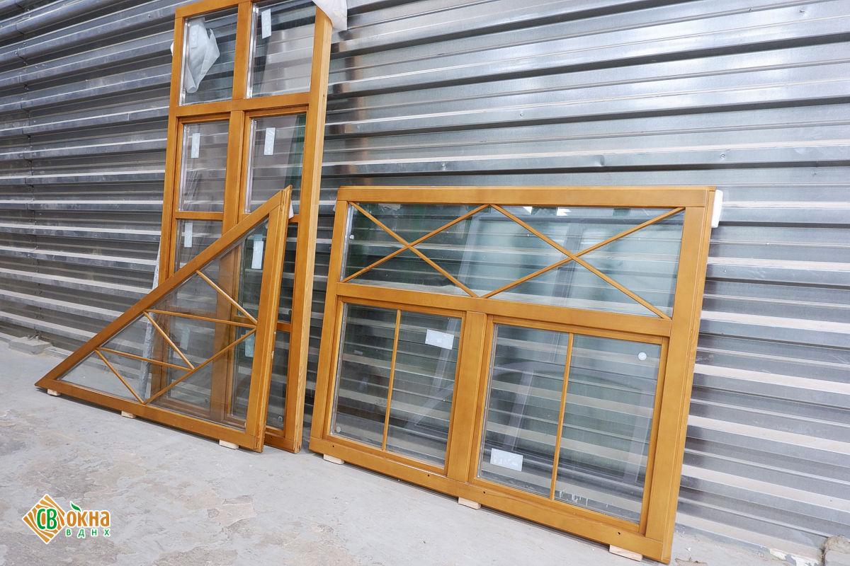 Деревянные окна ОСП с фальшпереплетами